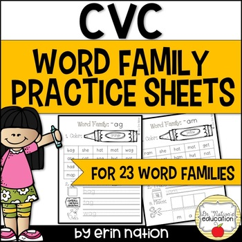 CVC Word Family Practice Sheets {for 23 word families}
