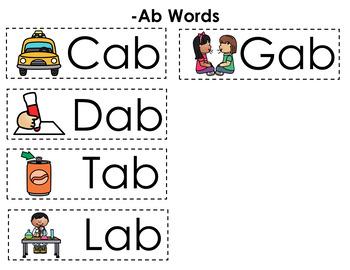 CVC Word Family Punch Activity: Ab Words
