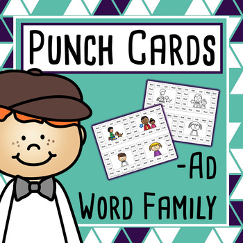 CVC Word Family Punch Activity: Ad Words