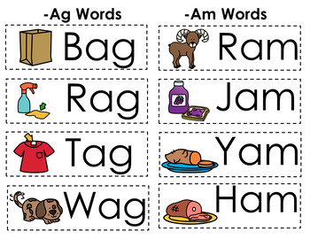 CVC Word Family Punch Activity: Ag and Am Words