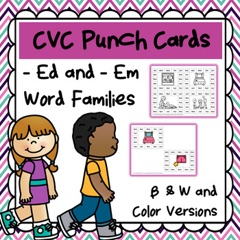 CVC Word Family Punch Activity: -Ed and -Em Words