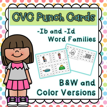 CVC Word Family Punch Activity: -Ib and -Id Words