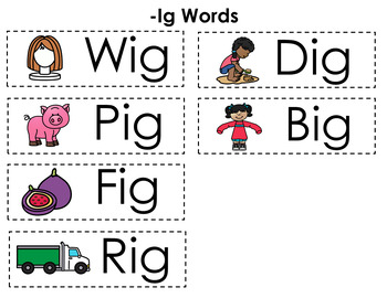 CVC Word Family Punch Activity: -Ig Words