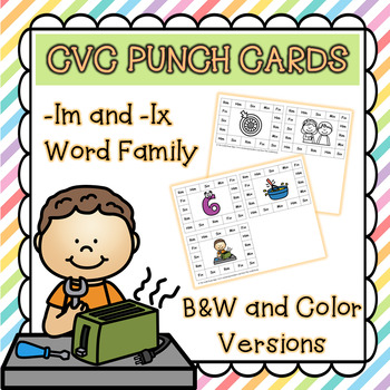 CVC Word Family Punch Activity: -Im and -Ix Words