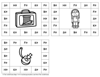CVC Word Family Punch Activity: -It Words