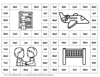 CVC Word Family Punch Activity: Short E Bundle
