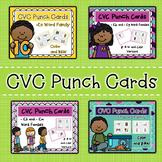 CVC Word Family Activity: Short E Punch Cards Bundle