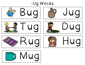 CVC Word Family Punch Activity: -Ug Words