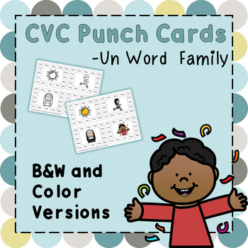 CVC Word Family Punch Activity: -Un Words