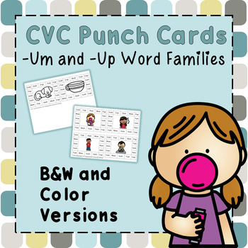 CVC Word Family Punch Activity: -Up and -Um Words