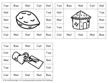 CVC Word Family Punch Activity: -Ux, -Us and -Ut Words