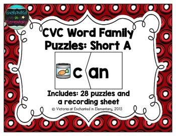 CVC Word Family Puzzles: Short A Set
