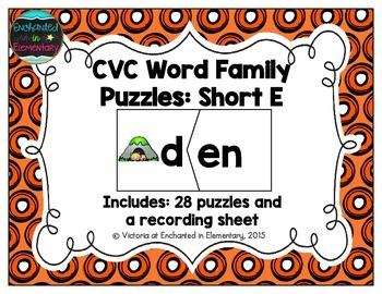 CVC Word Family Puzzles: Short E Set