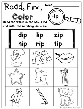 CVC Word Family Read, Find, Color