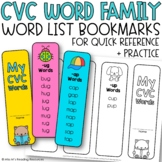 CVC Word Family Lists {CVC Bookmarks for Quick Lessons}