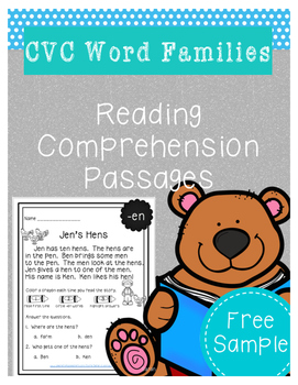 CVC Word Family Reading Comprehension FREE SAMPLE