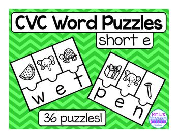 CVC Word Family Riddles - Short E