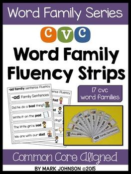 CVC Word Family Sentence Fluency Strips