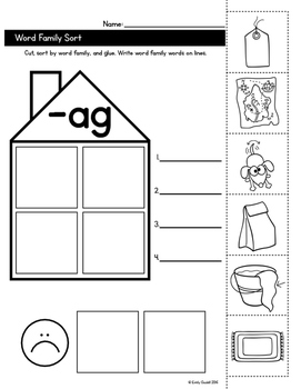 CVC Word Family Sort for all Vowels