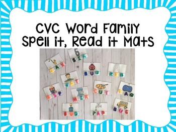 CVC Word Family- Spell it, Read it Mats