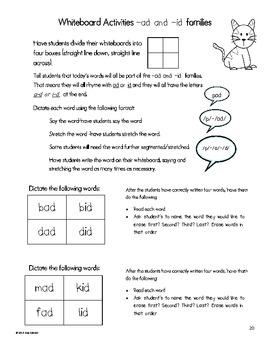 CVC Word Family Spelling Practice for Whiteboards