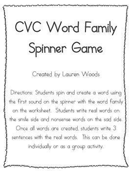 CVC Word Family Spinner Game