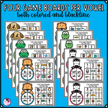 CVC Word Family Tic-Tac-Toe 30 Game Boards!