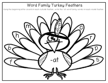CVC Word Family Turkey Feathers