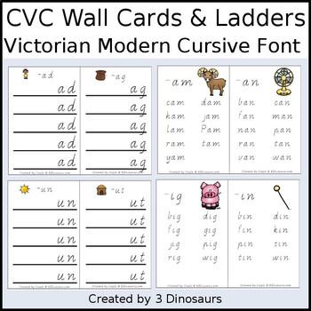 CVC Word Family Wall Cards & Ladders {Victorian Modern Cursive}