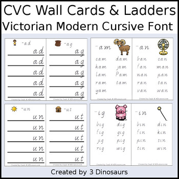 CVC Word Family Wall Cards & Ladders {Victorian Modern Cursive}