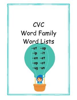 CVC Word Family Word Lists