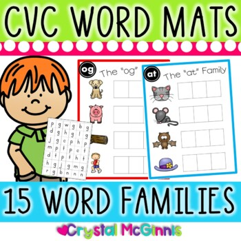 DOLLAR DEAL! CVC Word Family Word Mats and Letter Tiles (L