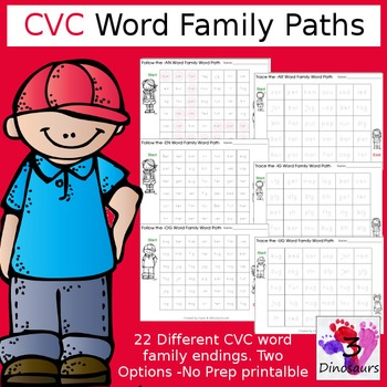 CVC Word Family Word Paths