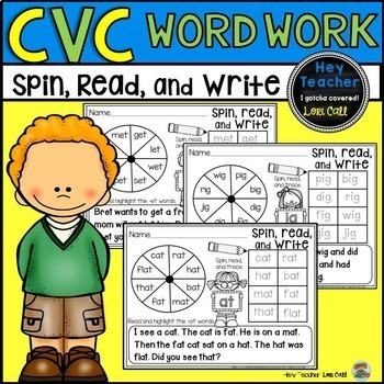 CVC Word Family Game:  Spin, Read, and Write Short Vowels