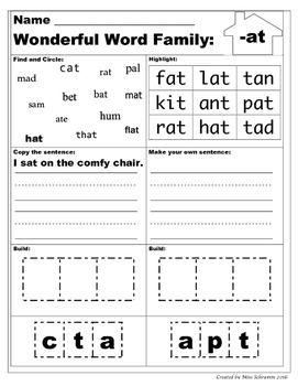 CVC Word Family Work {Includes 18 Circle Highlight Write and Box}