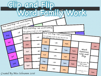CVC Word Family Work Pick and Flip {24 Word Families Included}