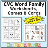CVC Word Family Worksheets - Short A E I O U - Heidi Songs