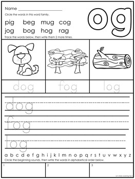 CVC Word Family Writing Activity Sheets