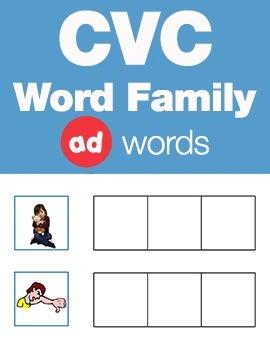 CVC Word Family -ad Word Workbook & Games (FREE)