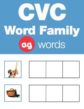 CVC Word Family -ag Word Family Workbooks and Games