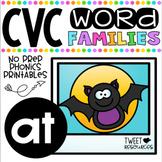 CVC Word Family 'AT' No Prep Phonics Printables FREEBIE