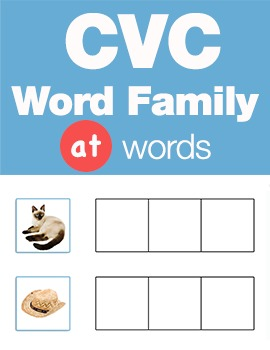 CVC Word Family -at Word Family Workbooks and Games