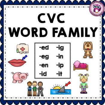 CVC Word Family {-ed -eg -en -id -ig -in -ip -it}