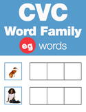 CVC Word Family -eg Word Family Workbooks and Games