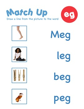 CVC Word Family -eg Word Family Workbooks and Games