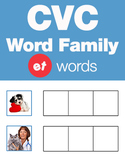 CVC Word Family -et Word Family Workbooks and Games