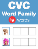 CVC Word Family -ig Word Family Workbooks and Games