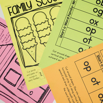 CVC Word Family 'o' Word Work & Games
