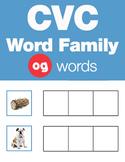 CVC Word Family -og Word Family Workbooks and Games