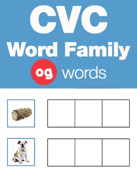 CVC Word Family -og Word Family Workbooks and Games